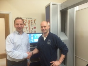 lr Stephen Small with Phil Heler at Buxton Osteopathy Clinic